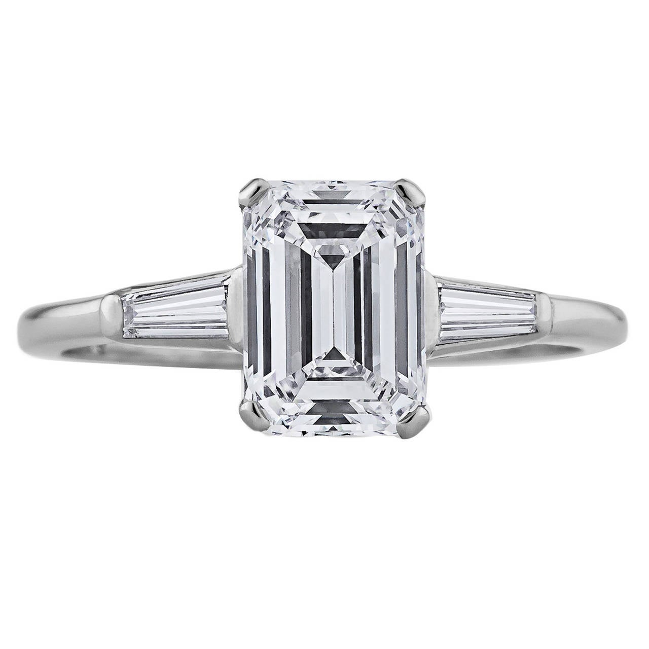 cartier emerald cut platinum engagement ring at