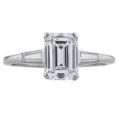 Cartier Emerald Cut Diamond Platinum Engagement Ring