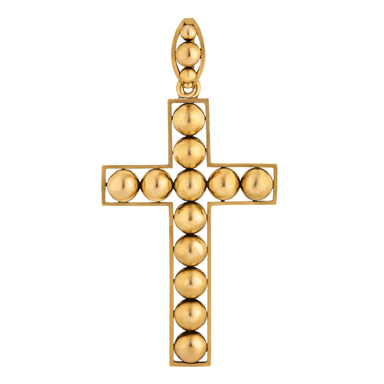 Victorian Handmade Gold Cross Pendant For Sale