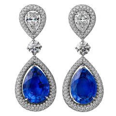 Steven Fox Sapphire Diamond Platinum Drop Earrings