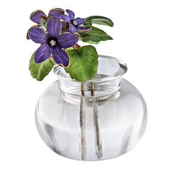 Important Faberge Provenanced Enameled Violets Rock Crystal Gold Flower Pot