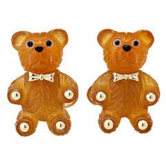 Hand Carved Agate Onyx Gold Teddy Bear Cufflinks