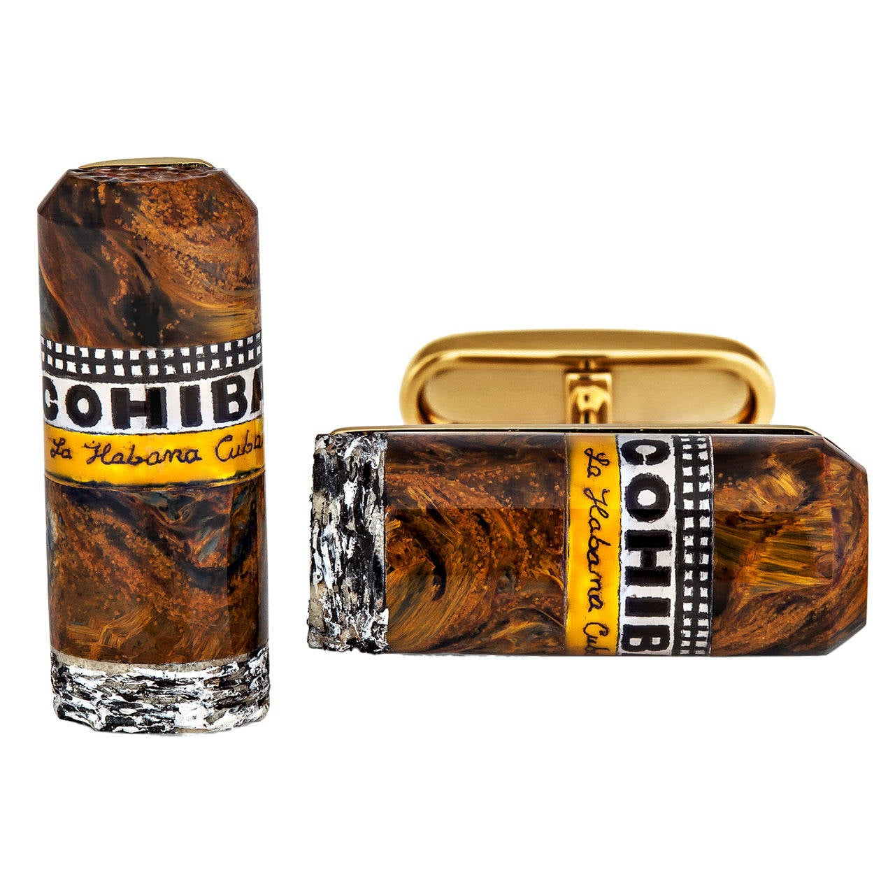 Petersite Agate Gold Cohiba Cigar Cufflinks