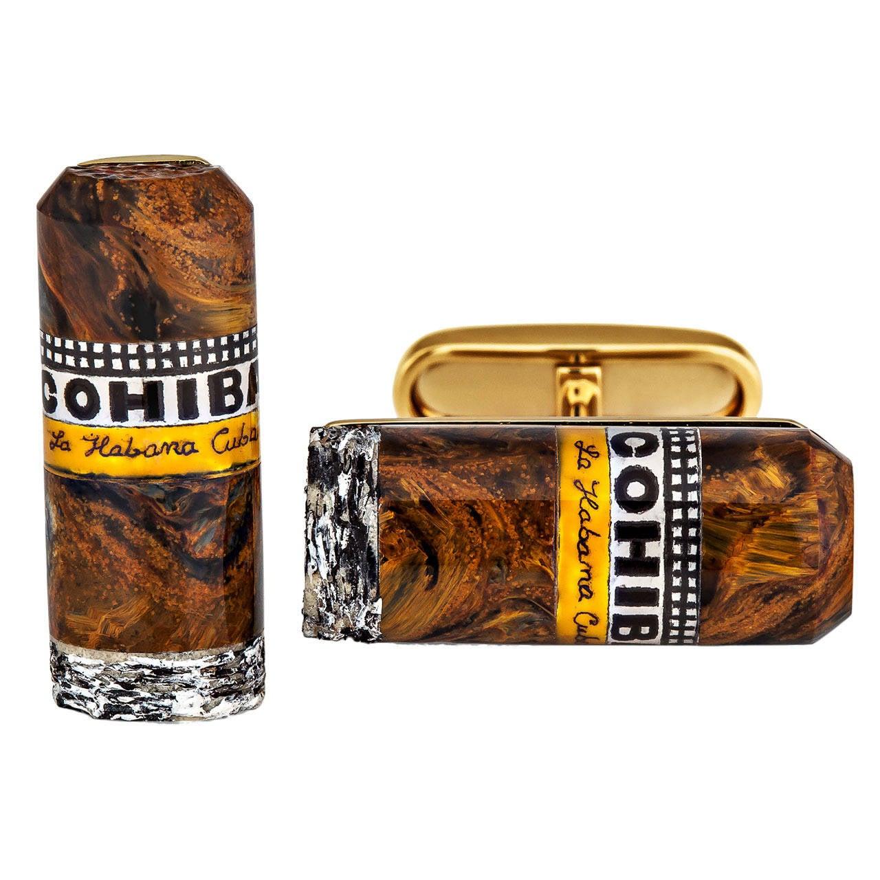 Petersite Agate Gold Cohiba Cigar Cufflinks