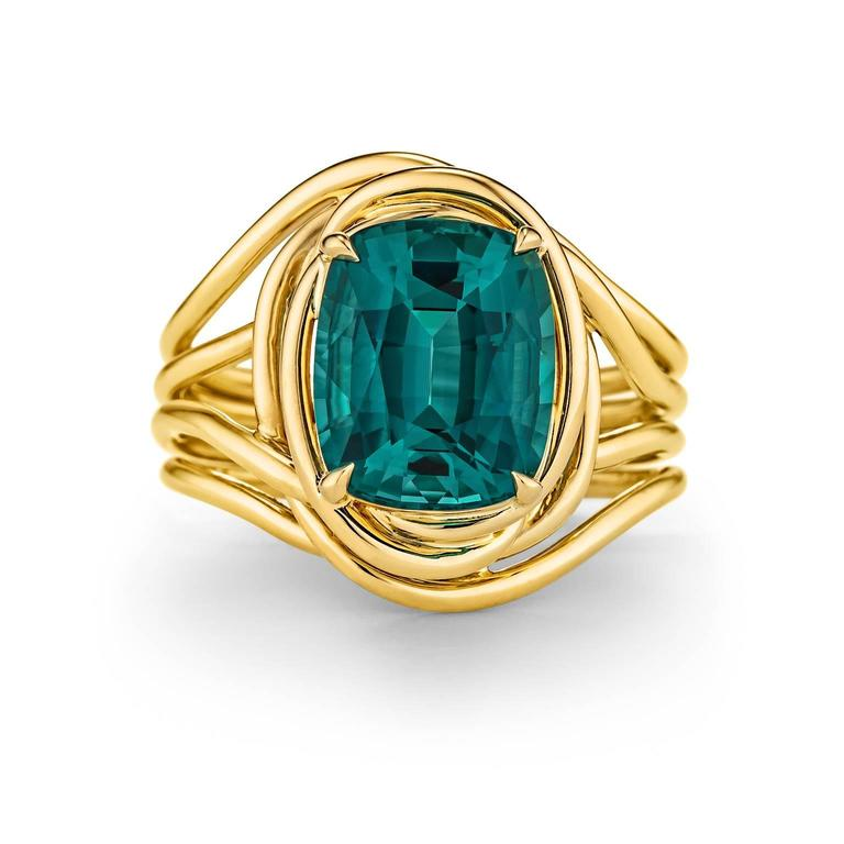 Tiffany & Co. Schlumberger Indicolite Tourmaline Gold Ring 2