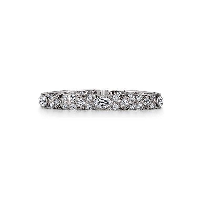 Women's Cartier Magnificent Art Deco Diamond Platinum Bracelet For Sale