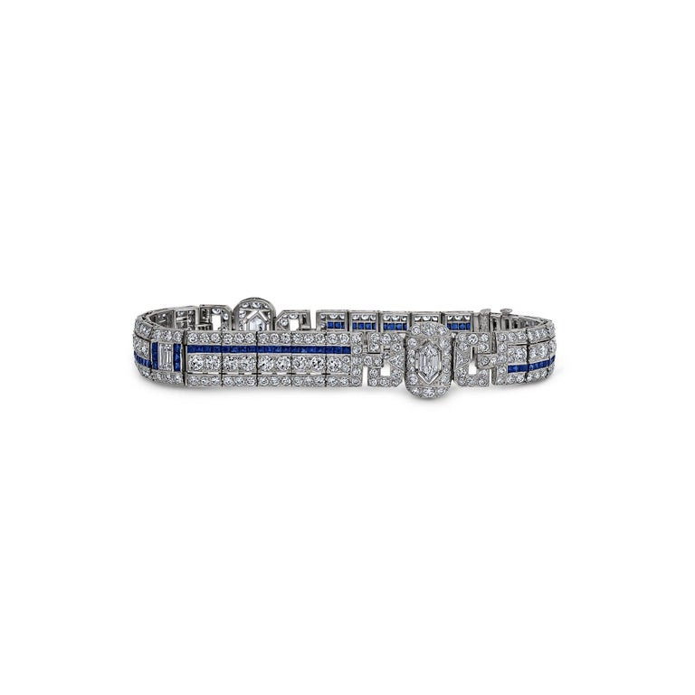 Art Deco Sapphire Diamond Bracelet In Excellent Condition For Sale In Greenwich, CT