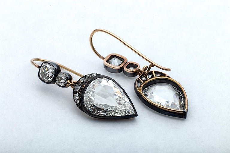 Contemporary Old Mine Pear Cut GIA Certified Diamond Gold Silver Drop Earrings For Sale