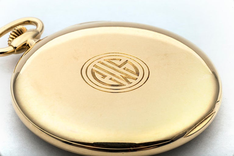 Tiffany & Co. Art Deco Open Face Yellow Gold Pocket Watch In Excellent Condition For Sale In Greenwich, CT