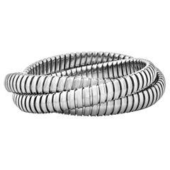 Handmade Sterling Silver Three-Strand Tubogas Rolling Bangle Bracelet