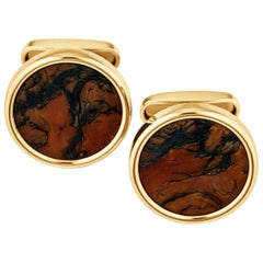 Moss Agate and Gold Cufflinks