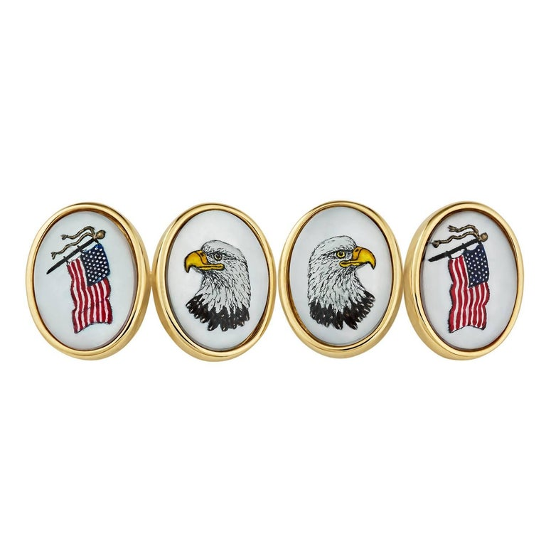 Mother-of-Pearl Gold American Flag and Bald Eagle Cufflinks