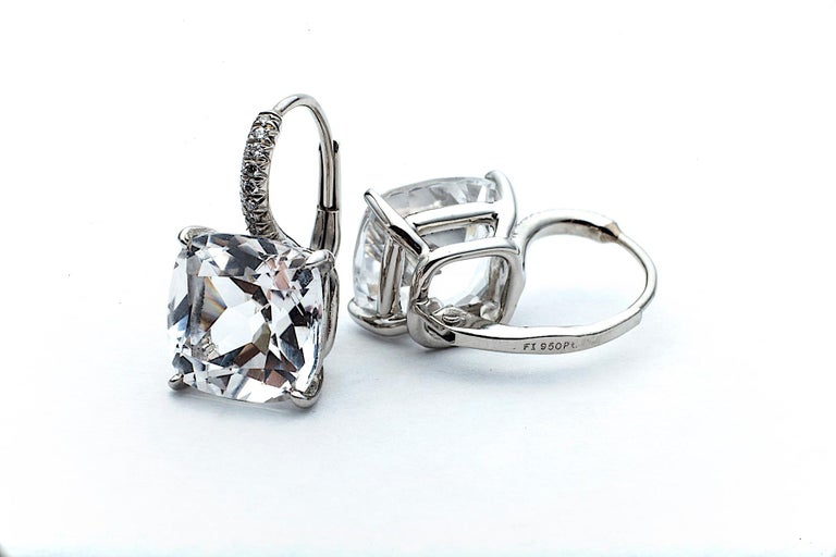 Contemporary Cushion Cut Medium Size White Topaz Diamond Platinum Drop Earrings For Sale