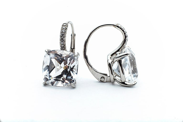 Cushion Cut Medium Size White Topaz Diamond Platinum Drop Earrings In New Condition For Sale In Greenwich, CT