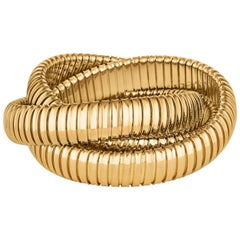 Handmade Gold Three-Strand Tubogas Rolling Bangle Bracelet