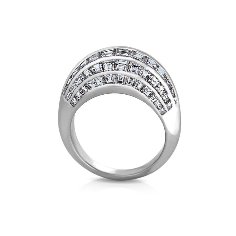 Retro Van Cleef & Arpels Paris Midcentury Diamond Platinum Bombe Ring For Sale