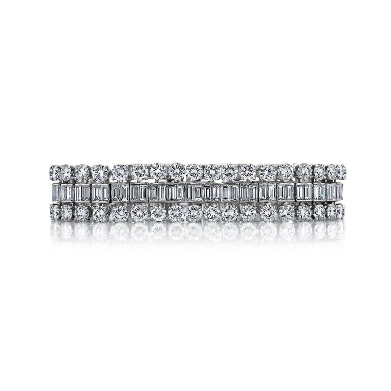 Retro Boucheron Paris Midcentury Diamond Platinum Bracelet For Sale