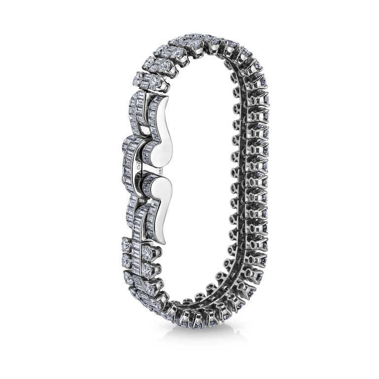 Emerald Cut Boucheron Paris Midcentury Diamond Platinum Bracelet For Sale