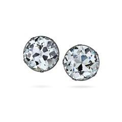 Art Deco 12.42 Carat Old European Cut Diamond Stud Earrings