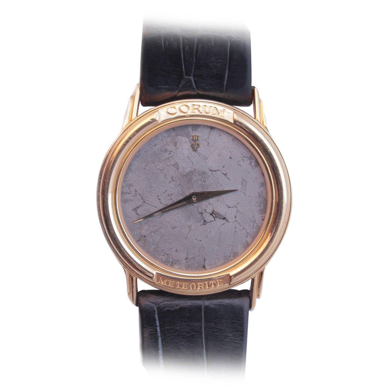 Corum Yellow Gold Wristwatch with Meteorite Dial circa 1990s