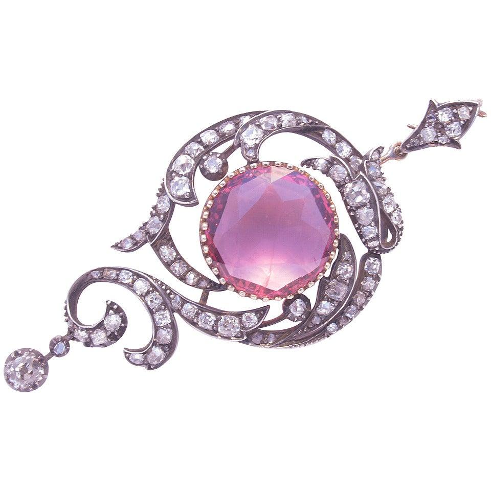 Antique Spinel Diamond Silver Gold Pendant