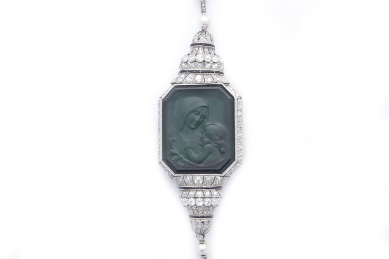 Art Deco Carved Tourmaline Natural Pearl Onyx Diamond Sautoir Necklace 4