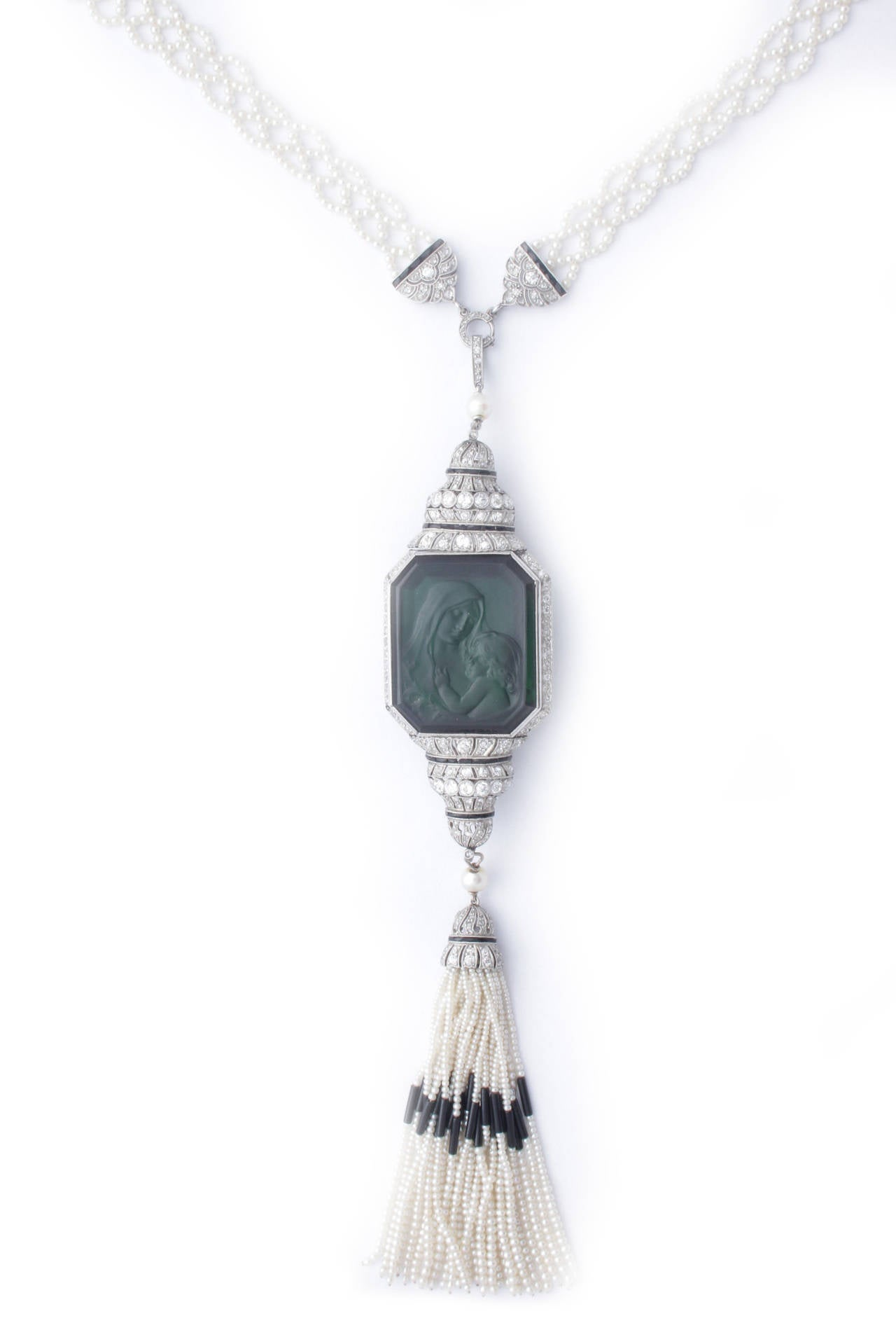 Art Deco Carved Tourmaline Natural Pearl Onyx Diamond Sautoir Necklace 2