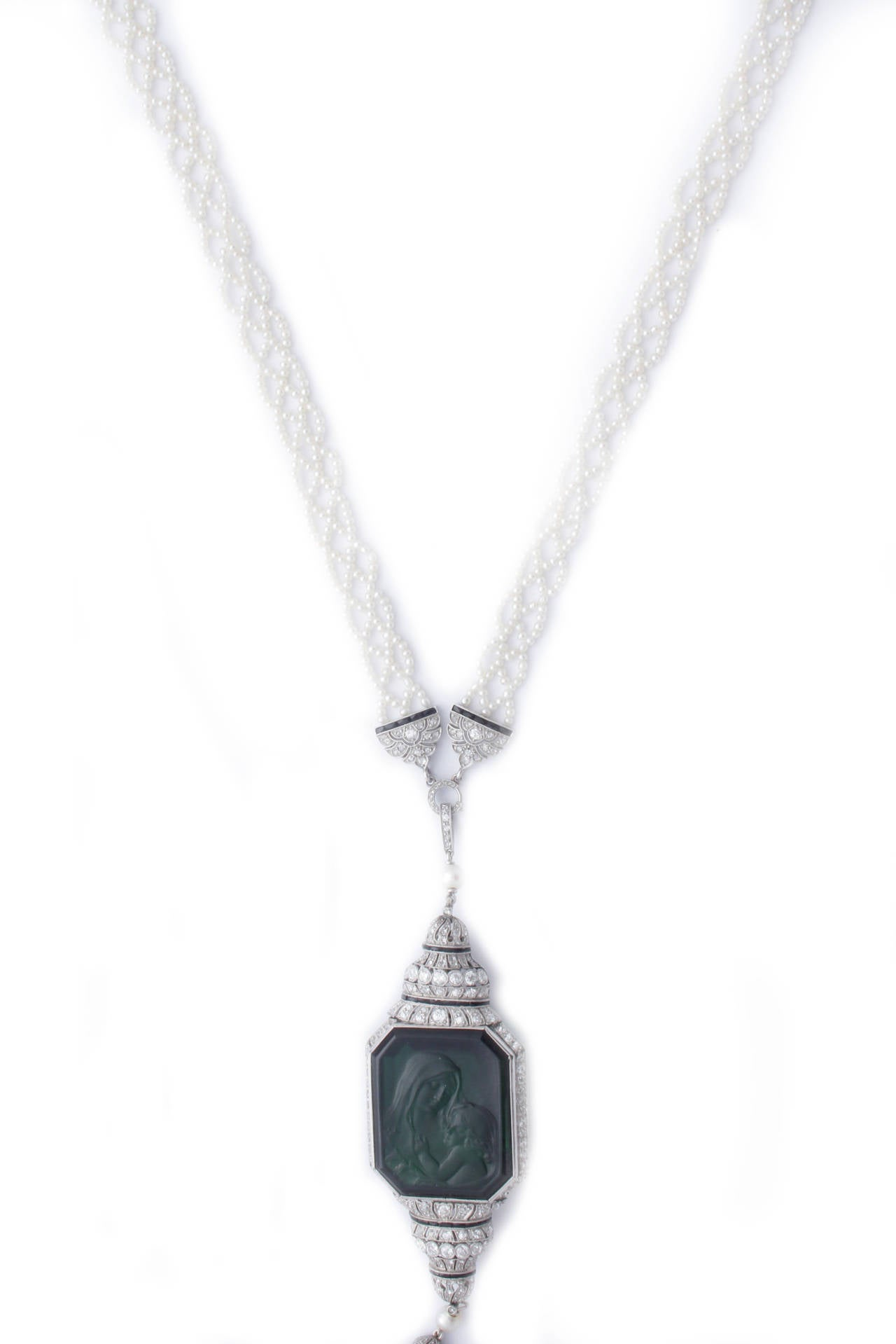Art Deco Carved Tourmaline Natural Pearl Onyx Diamond Sautoir Necklace 3