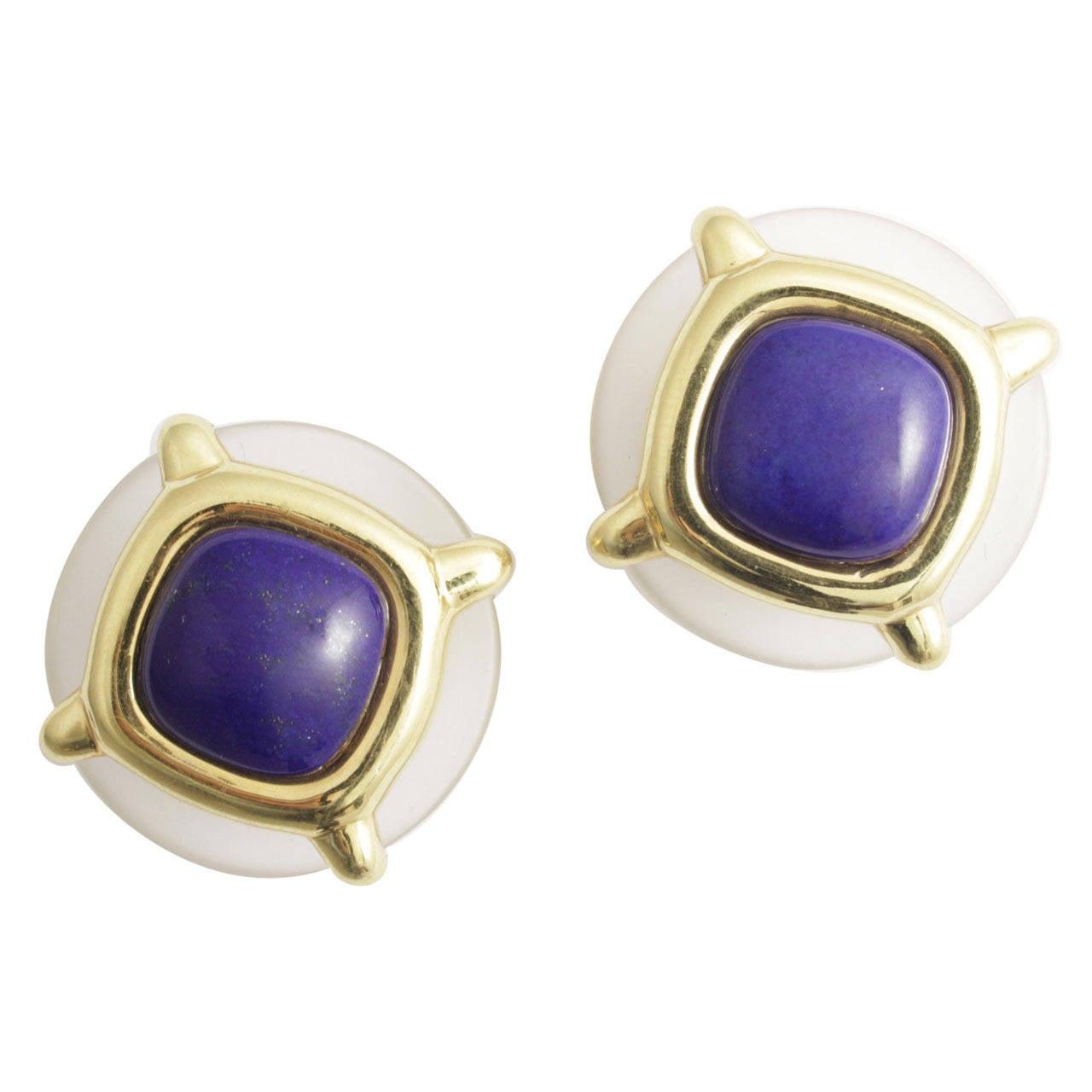 1973 Aldo Cipullo Rock Crystal Lapis Gold Earrings