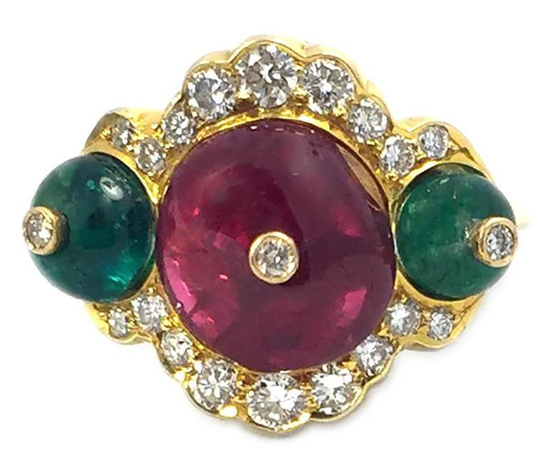Spinel Emerald Diamond Gold Ring