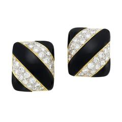 1970s Onyx Diamond Gold Earclips