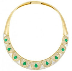 Emerald Diamond and Mother-of-Pearl Necklace