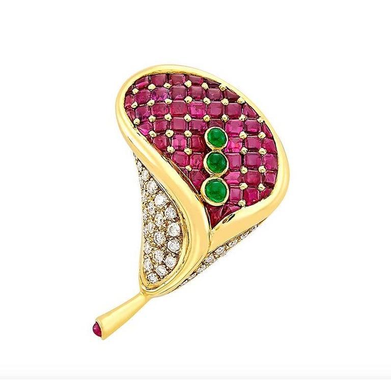Faraone Flower Ruby Diamond Emerald Brooch For Sale