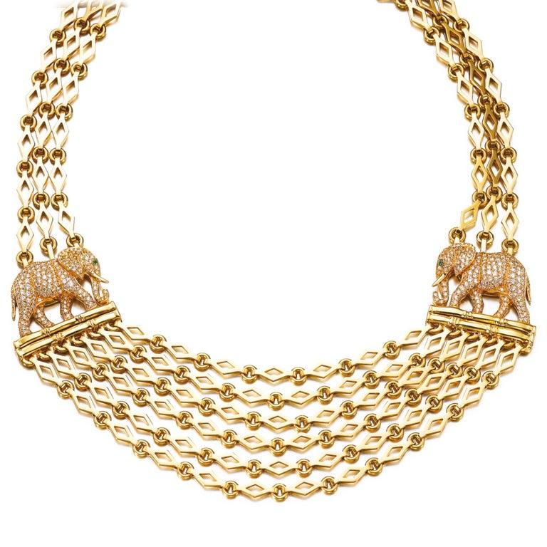 Cartier Elephants Gold Diamonds Necklace