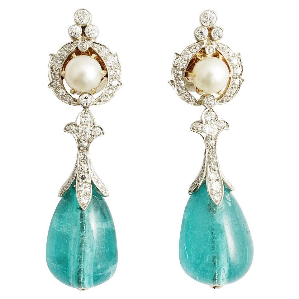 Important Natural Pearl Emerald Diamond Platinum Earrings
