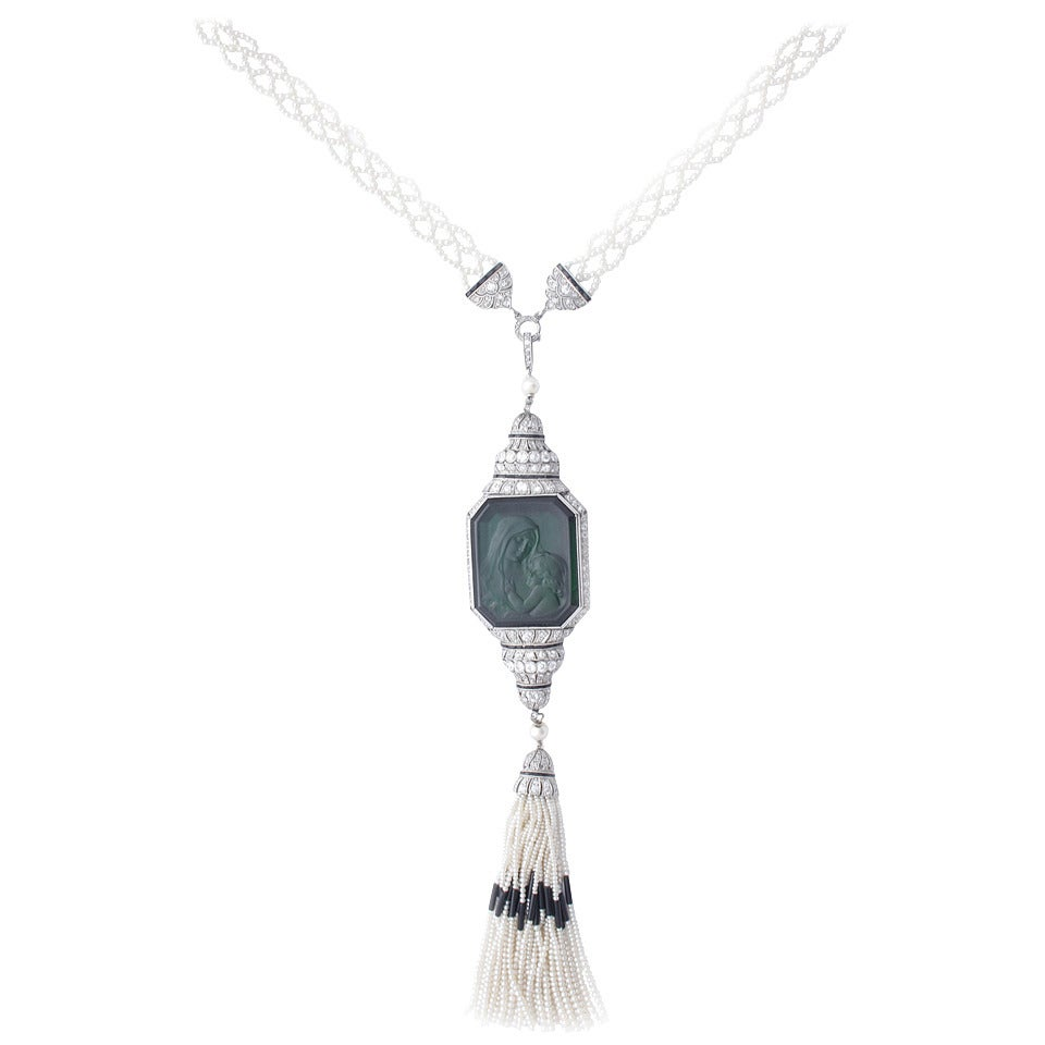 Art Deco Carved Tourmaline Natural Pearl Onyx Diamond Sautoir Necklace 1