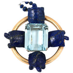 Impressive 330ct Aquamarine and Lapis Turtles Pendant Necklace