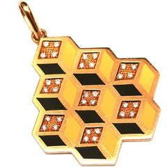An Italian Enamelled Diamond Gold Pendant