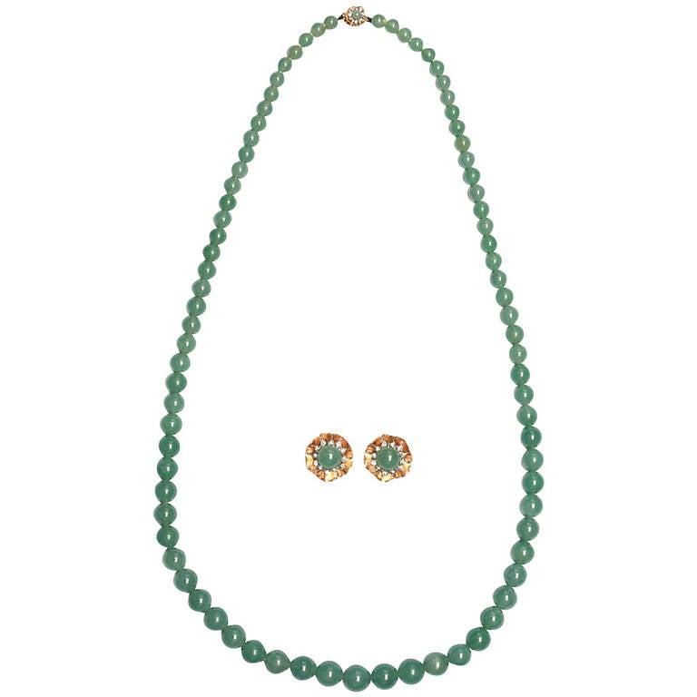 A Jade Bead Diamond Demi-Parure