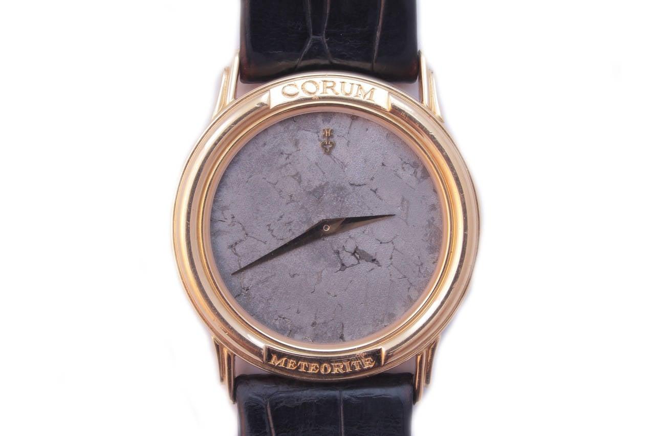 corum yellow gold wristwatch with meteorite circa