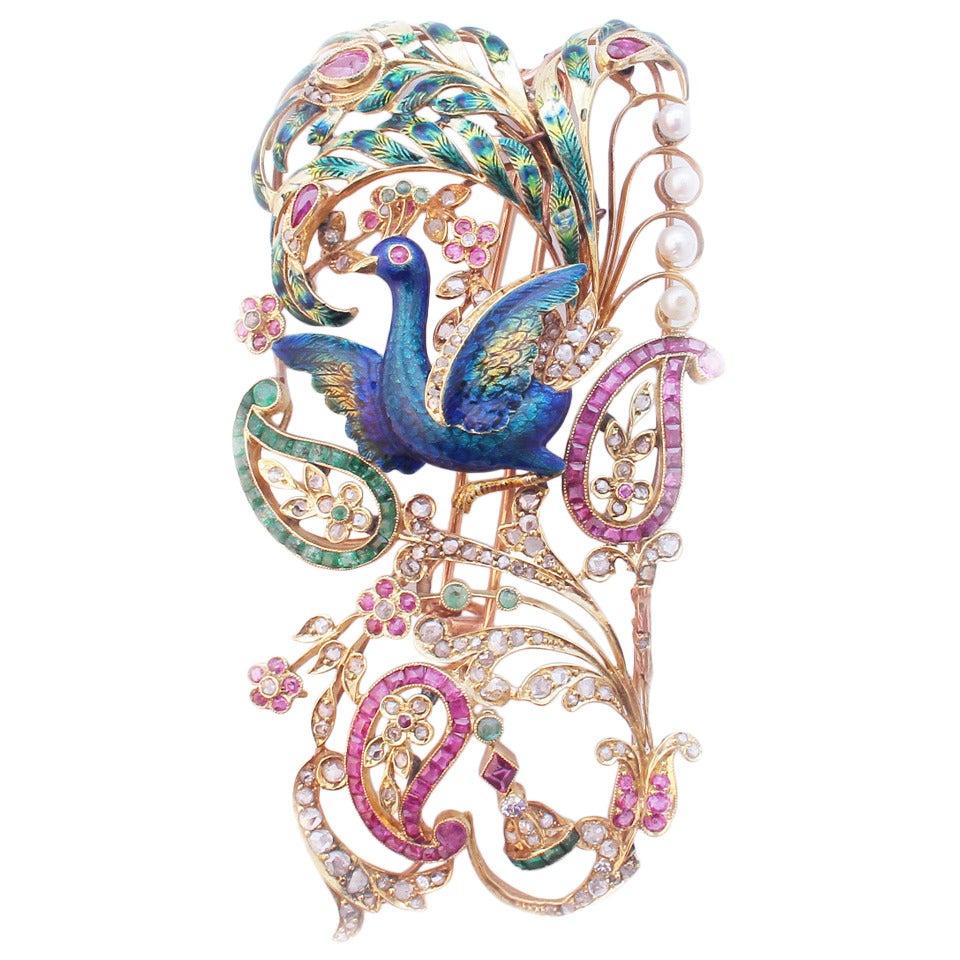 Tall Peculiar Art Nouveau Brooch