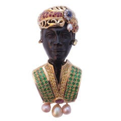 Large Extravagant Wood Gold Gem Set Diamond Blackamoor Brooch/Pendant