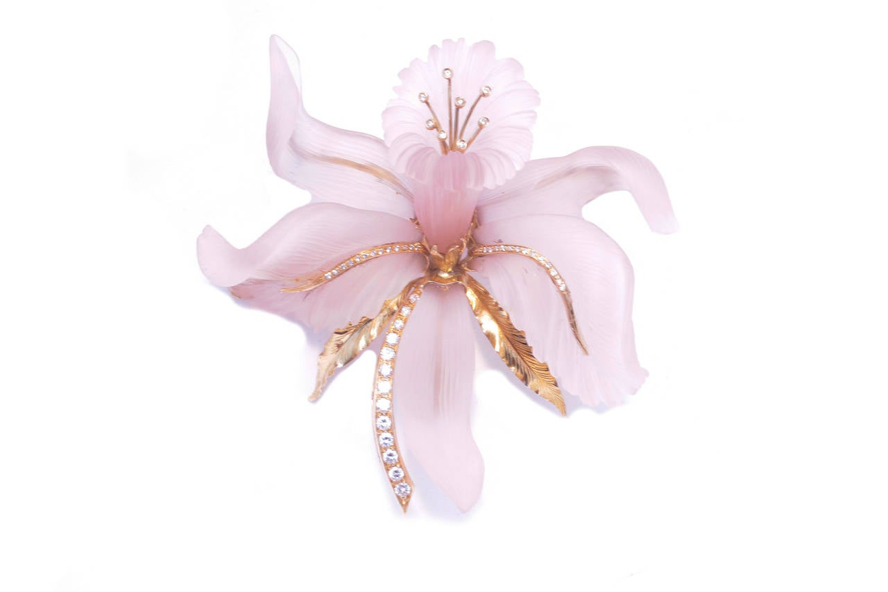 Large Rose Quartz Diamond Orchid Brooch In Good Condition For Sale In New York, NY