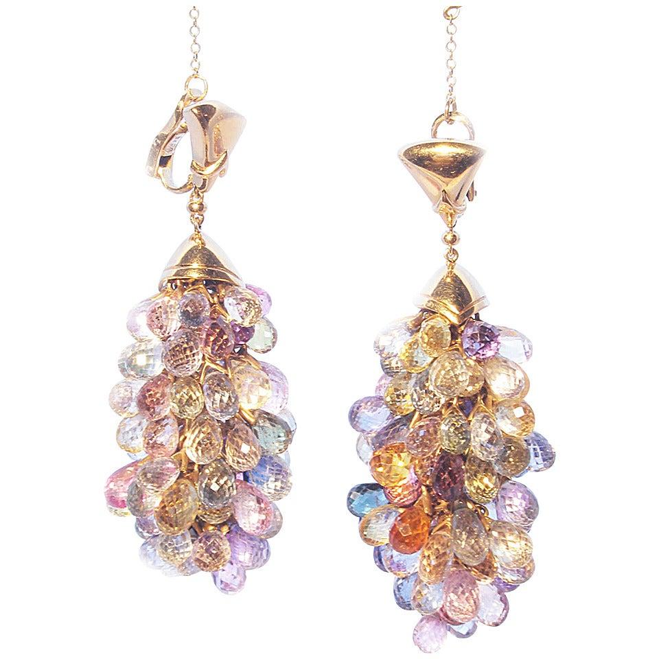 Bulgari Multicolor Sapphire Gold Earrings