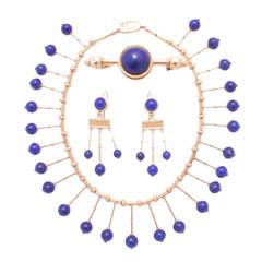 Travaglini Antique Roman Lapis Lazuli Gold Set