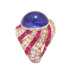 Illario Sapphire Diamond Ruby Gold Cocktail Ring