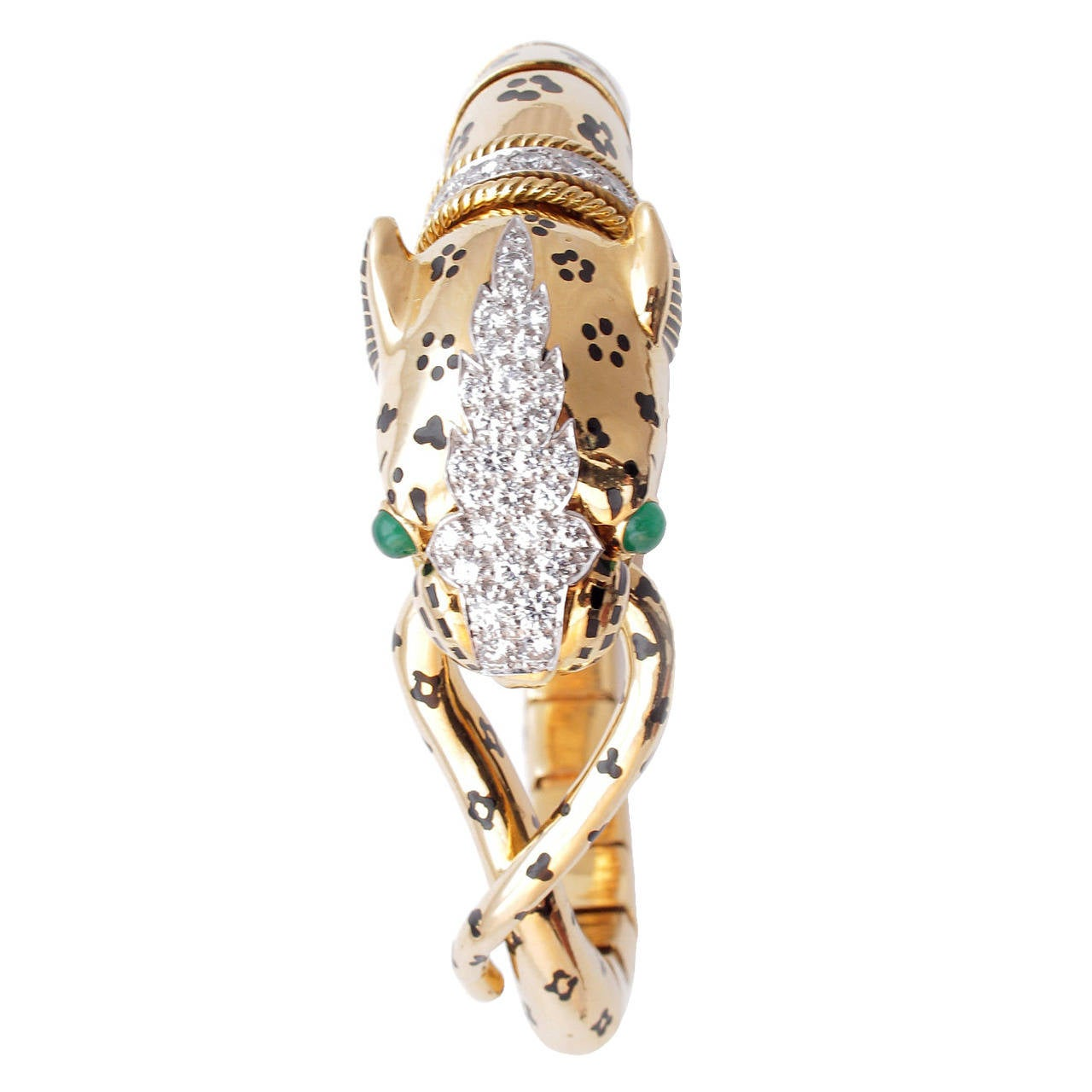 David Webb Unusual Emerald Diamond Gold Tiger Bracelet