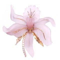 Large Rose Quartz Diamond Orchid Brooch