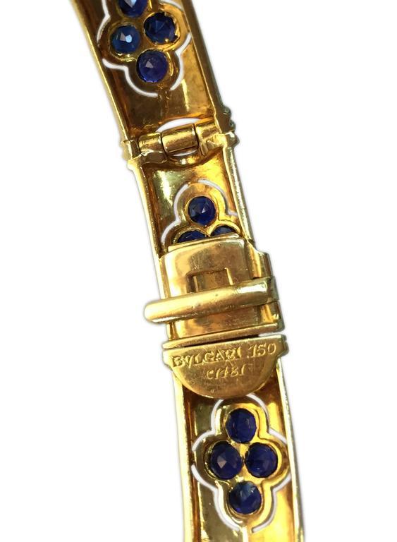 Bulgari 1960 Rare sapphire diamond gold Shield drop Necklace  In Good Condition For Sale In New York, NY