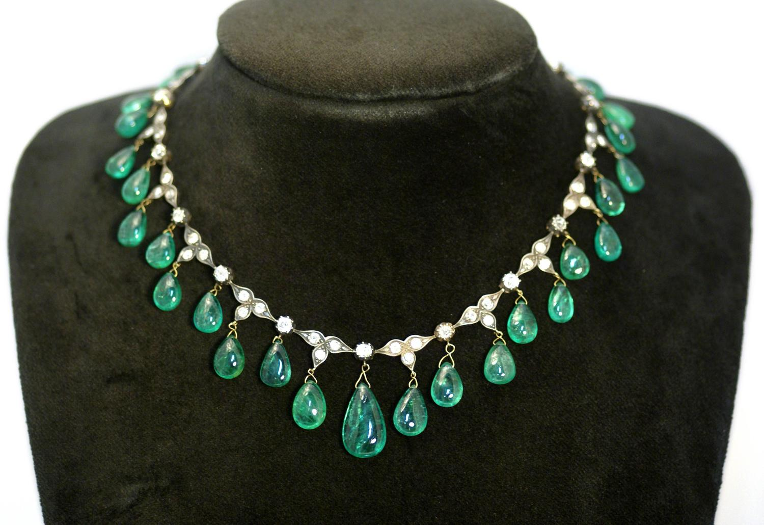 Antique Emerald Drop Necklace For Sale At 1stdibs